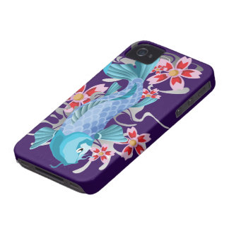 Blue Koi Fish on indigo iPhone 4 Case
