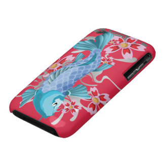 Blue Koi Fish on red violet Case-Mate iPhone 3 Cases