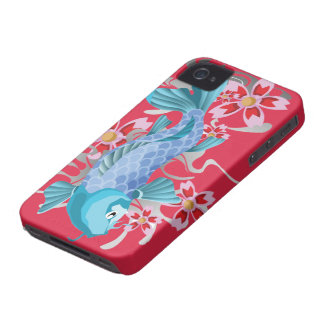 Blue Koi Fish on red violet iPhone 4 Covers