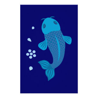 Blue Koi Fish Stationery