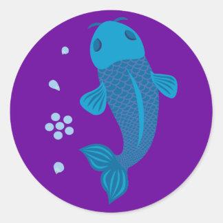Blue Koi Fish Round Sticker