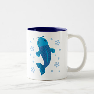 Blue Koi Fish Two-Tone Coffee Mug