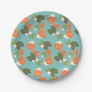 Blue Koi Pond Paper Plate
