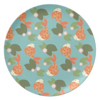 Blue Koi Pond Plate