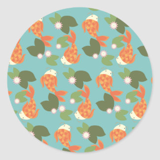 Blue Koi Pond Round Sticker