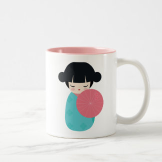 BLUE Kokeshi Doll - Cute Japanese Geisha Girl Two-Tone Coffee Mug