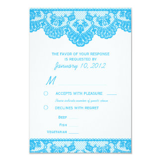 Blue Lace and White RSVP with Meal Options 9 Cm X 13 Cm Invitation Card