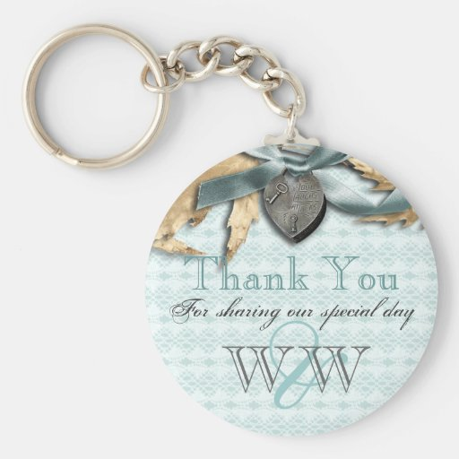Blue lace country locket thank you key chain