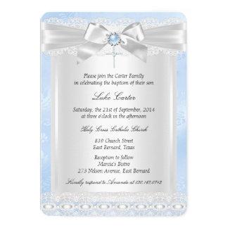 Blue Lace Cross Baptism Christening 13 Cm X 18 Cm Invitation Card