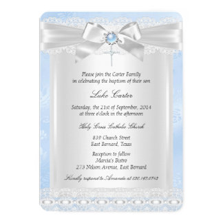 Blue Lace Cross Baptism Christening Card