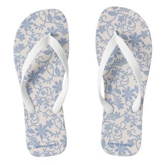 Blue Lace Flip Flops