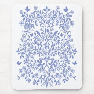 Blue Lace Floral Vines Mousepad