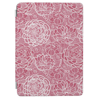Blue lace flowers pattern background iPad air cover