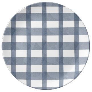 Blue Lace Gingham Porcelain Plate