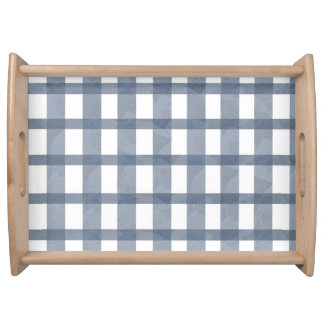 Blue Lace Gingham Serving Tray