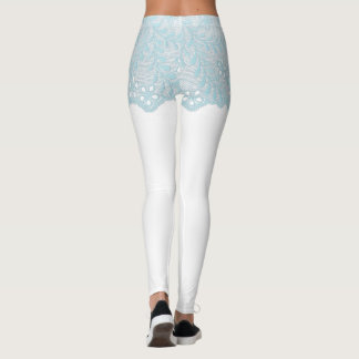 Blue Lace Girdle Shorts Leggings