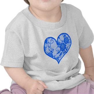 Blue Lace Heart T Shirts