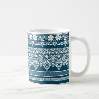 Blue lace pattern . coffee mug