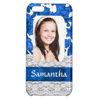 Blue lace photo template iPhone 5C cover