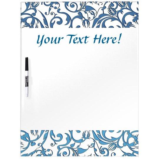 Blue Lace Scroll Work Pattern Dry Erase White