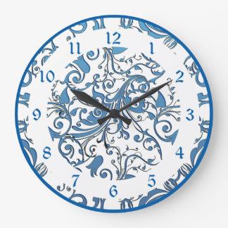 Blue Lace Scroll Work Pattern Large Clock