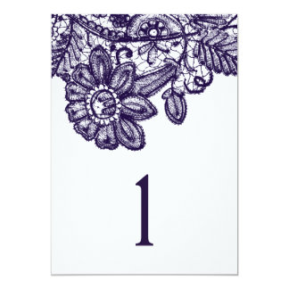 """Blue Lace Table Numbers 5""""x7"""" 13 Cm X 18 Cm Invitation Card"""