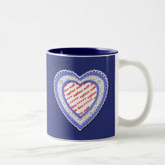 Blue Laced Heart Photo Frame Mug