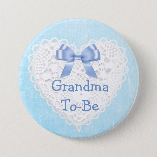 Blue Lacy Grandma-To-Be Baby Shower Button