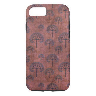 Blue Lacy Trees on Grunge Red iPhone 7 Case