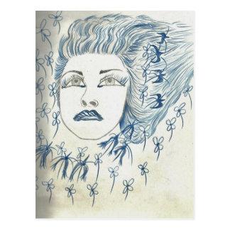 Blue Lady Flower Postcard