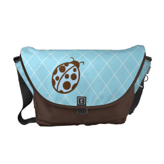 Blue Ladybug Messenger Diaper Bag Purse Gift Messenger Bag