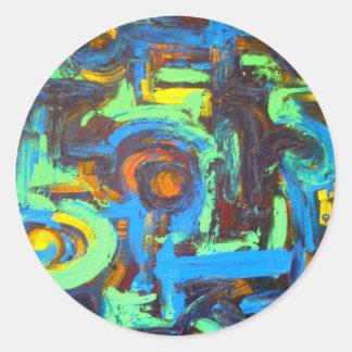 Blue Lagoon-Abstract Art Hand Painted Brushstrokes Round Sticker