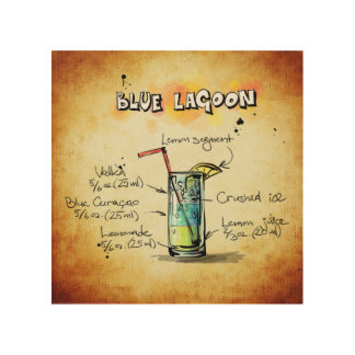 Blue Lagoon Cocktail Recipe Wood Wall Decor