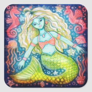 Blue Lagoon Mermaid with Seahorses and Starfish Square Sticker