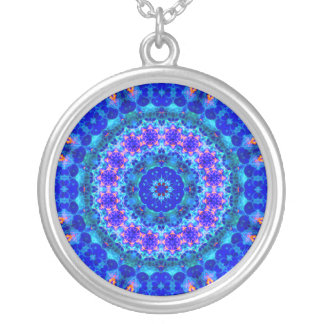 Blue Lagoon of Liquid Shafts of Light Round Pendant Necklace