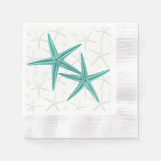 Blue Lagoon Starfish Couple Paper Napkins