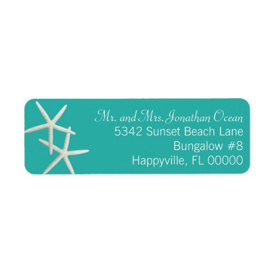 Blue Lagoon Starfish Couple Skinny Address Labels