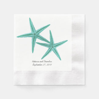 Blue Lagoon Starfish Couple Wedding Napkins Paper Napkin