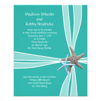 Blue Lagoon Starfish Gift Box Wedding Invitations 11.5 Cm X 14 Cm Flyer