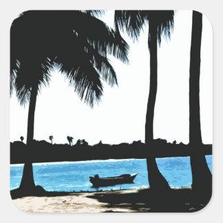 Blue Lagoon Square Stickers