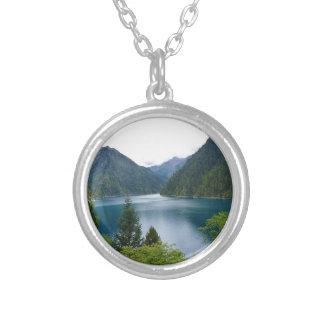 Blue Lake Round Pendant Necklace