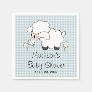 Blue Lamb Baby Boy Shower Disposable Serviette