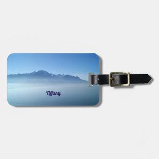Blue landscape luggage tag