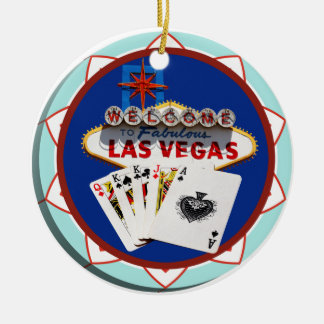 Blue Las Vegas Welcome Sign Poker Chip Christmas Ornament