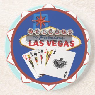 Blue Las Vegas Welcome Sign Poker Chip Coaster
