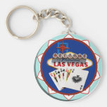 Blue Las Vegas Welcome Sign Poker Chip Keychains