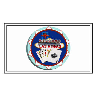 Blue Las Vegas Welcome Sign Poker Chip Pack Of Standard Business Cards