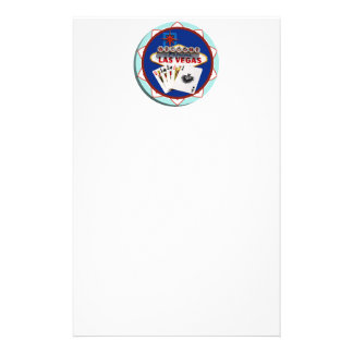 Blue Las Vegas Welcome Sign Poker Chip Personalised Stationery