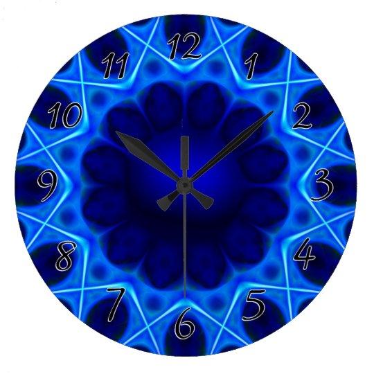 Blue Laser Light Fractal Large Clock
