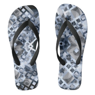Blue Lattice Flip Flops
